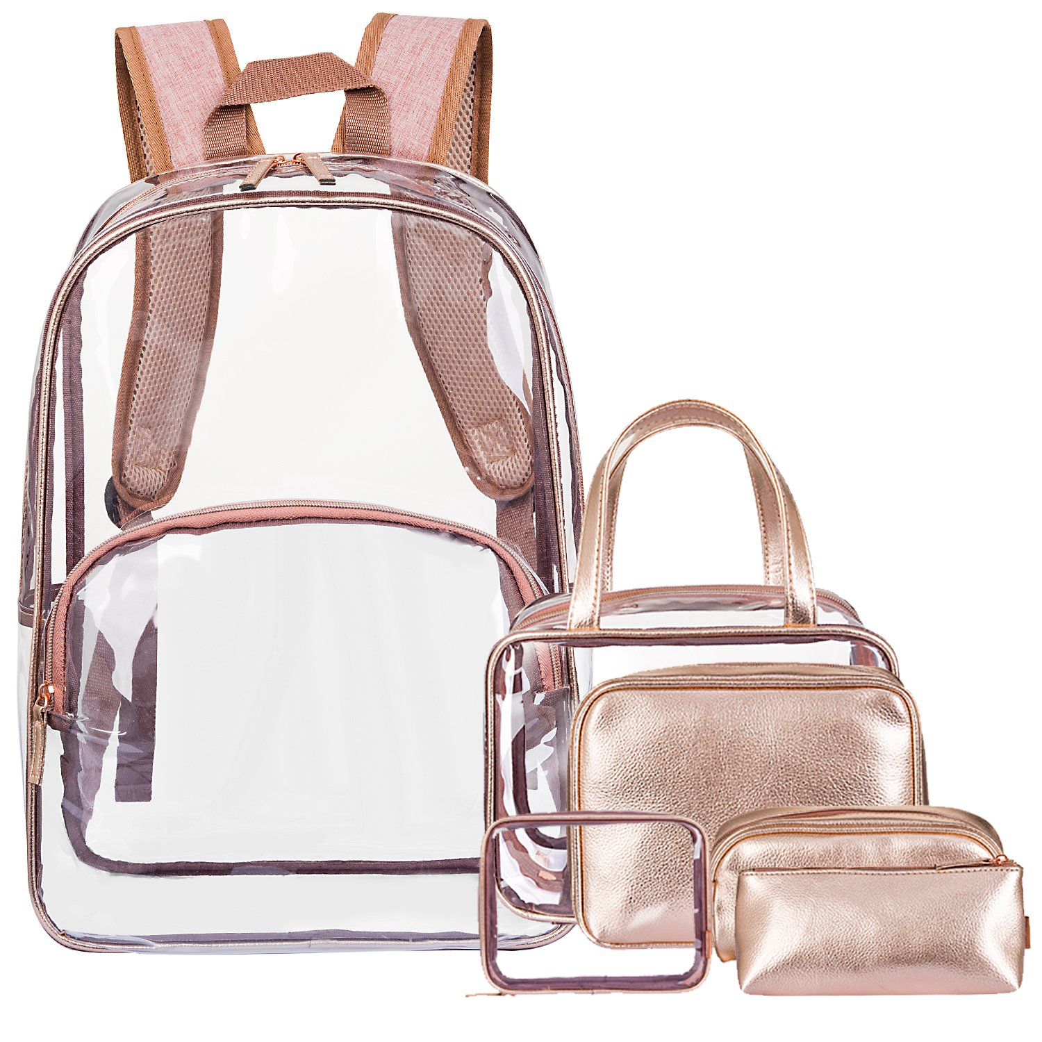 NiceEbag 6 in 1 Clear Backpack with Cosmetic Bag & Case, Clear Transparent PVC School Backpack Outdoor Bookbag Portable Travel Toiletry Bag Makeup Quart Luggage Organizer (Rose Gold)