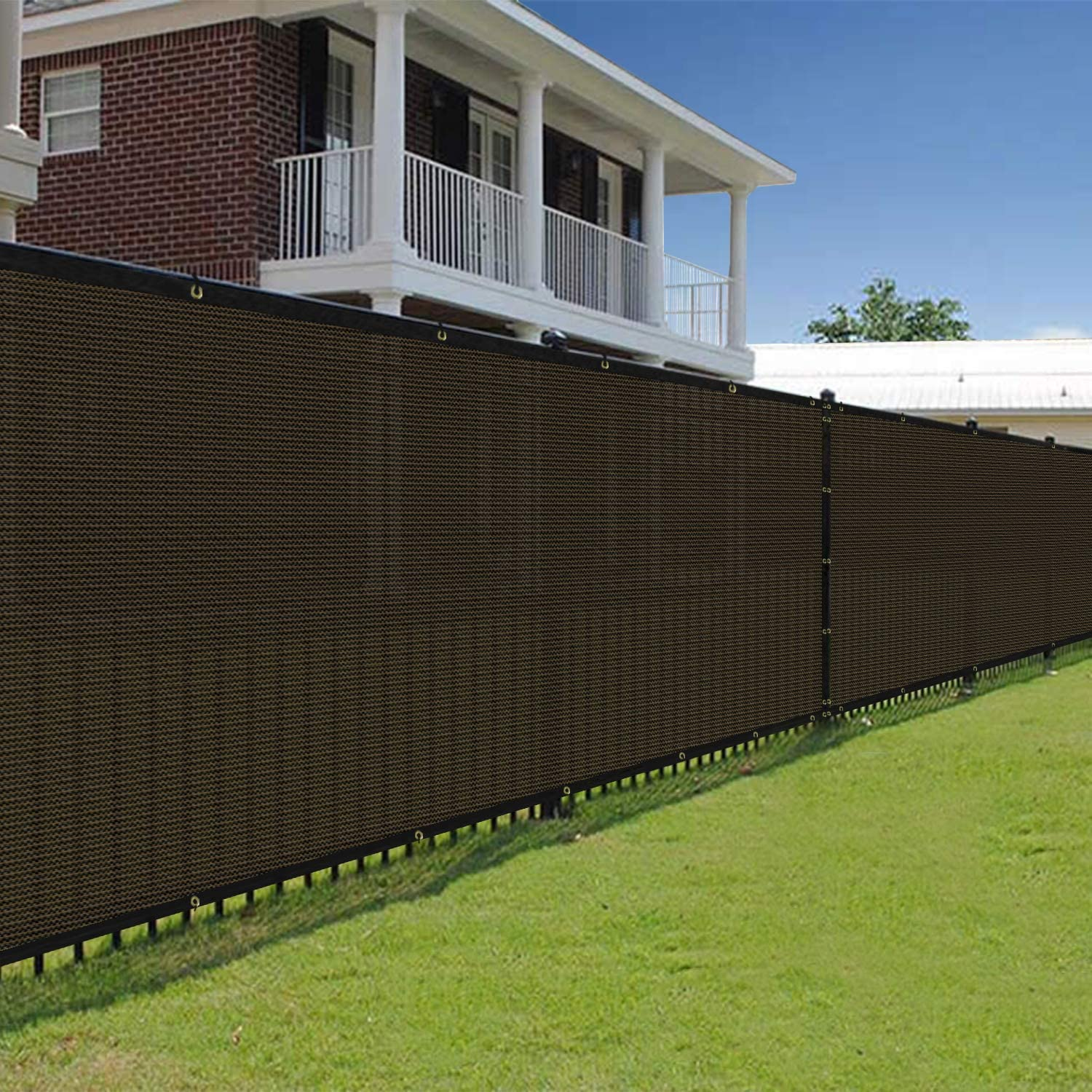 E&K Sunrise 4' x 50' Brown Fence Privacy Screen, Commercial Outdoor Backyard Shade Windscreen Mesh Fabric 90% Blockage 3 Years Warranty (Customized Set of 1