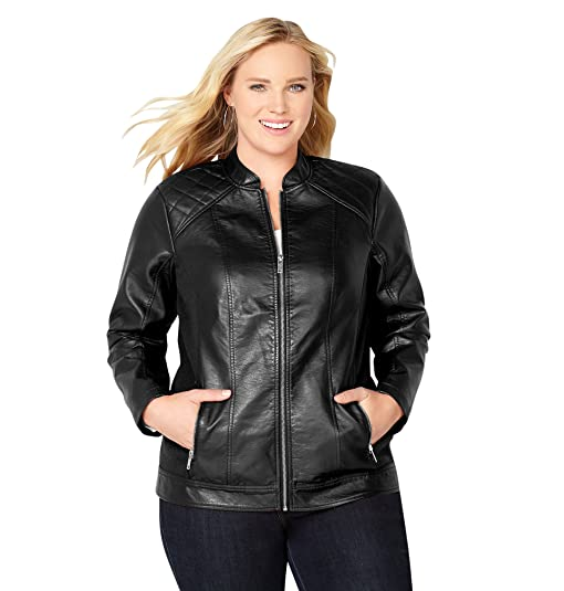 Amazon.com: Avenue Women's Quilted Shoulder Pleather Jacket: Clothing : quilted pleather jacket - Adamdwight.com