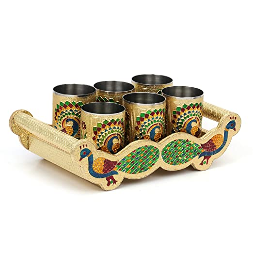 Details about  /Harekrushna Handicraft Meena Work Peacock Design Serving Tray with Glass