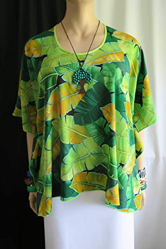 6e8f0ebb203a2 Image Unavailable. Image not available for. Color: Plantation Ti leaves Hawaiian  Polynesian Clothing Woman's Butterfly caftan ...