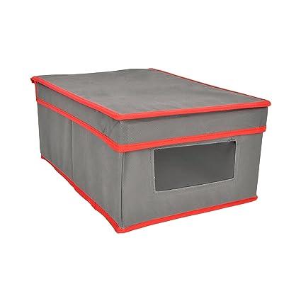Bloquer Ralph Caja Ordenación con Ventana y Tapa, Tela, Gris y Rojo, 37.5x27.5x3 cm: Amazon.es: Hogar