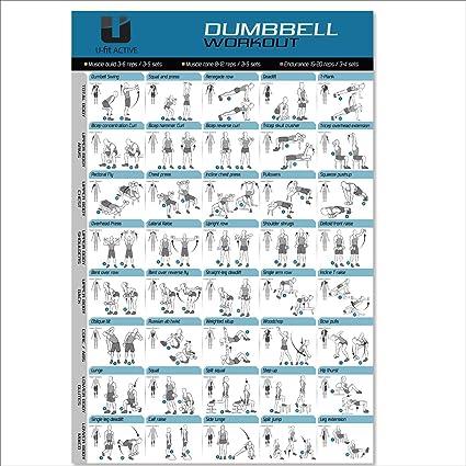 Gran mancuerna entrenamiento y póster de ejercicios (20 x 30) – 40 de las