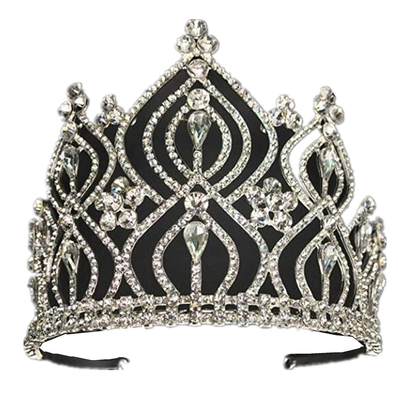 wiipujewelry Luxury 10 cm高花ティアラヘアウェディングクラウンクリアクリスタルシルバーヘッドバンドプロムパーティークラウン(a2053 ) B07CGG9QH4