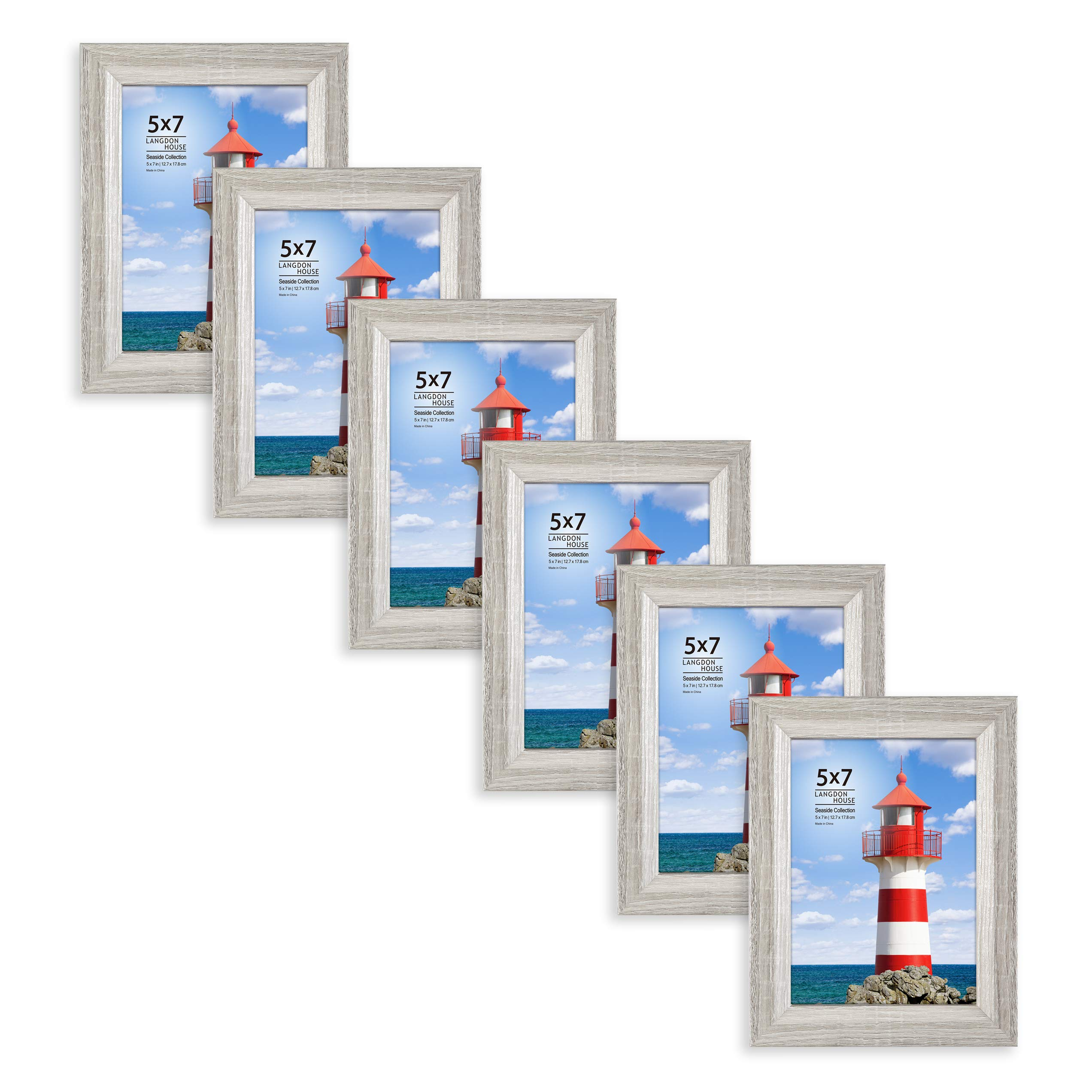 Langdons 5x7 Picture Frame (6 Pack, Gray), Sturdy Wood Composite Photo Frame 5 x 7, Wall Mount or Table Top, Set of 6 Seaside Collection by Langdons