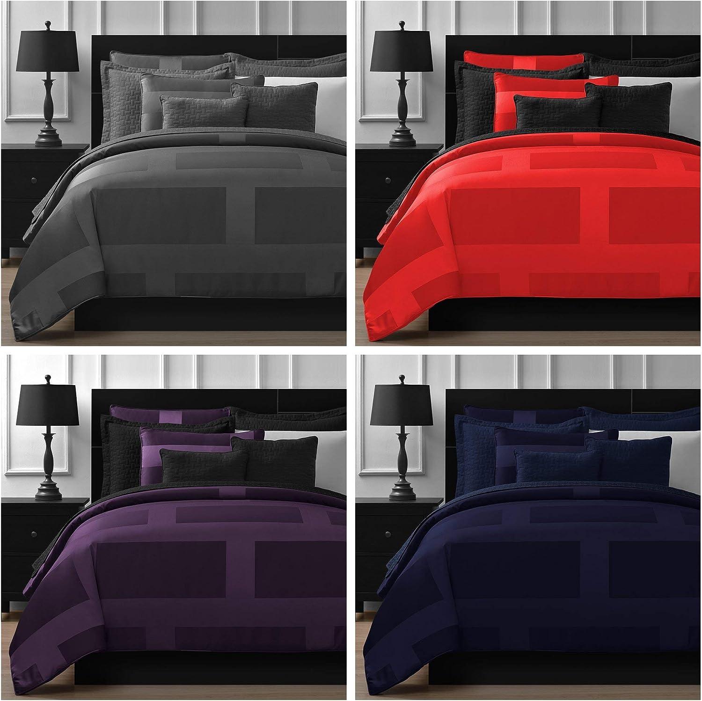 Comfy Bedding Frame Jacquard Microfiber Full 5-piece Comforter Set Plum
