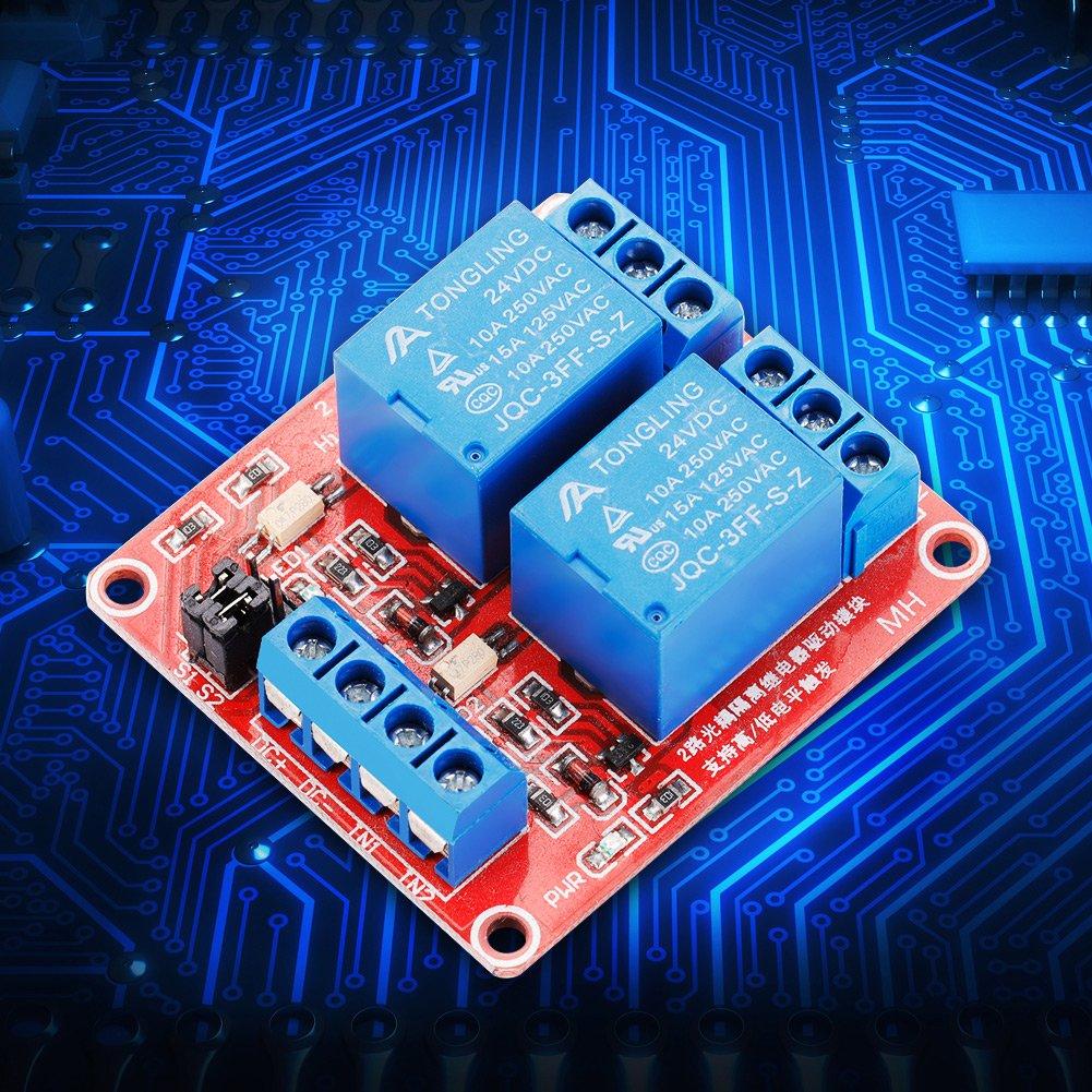 Akozon Module de Relais 2 Canaux 24V D/éclencheur de Niveau Haut//bas avec Isolement Optique CA 250V DC 30V10A pour Arduino Raspberry Pi Relais Module