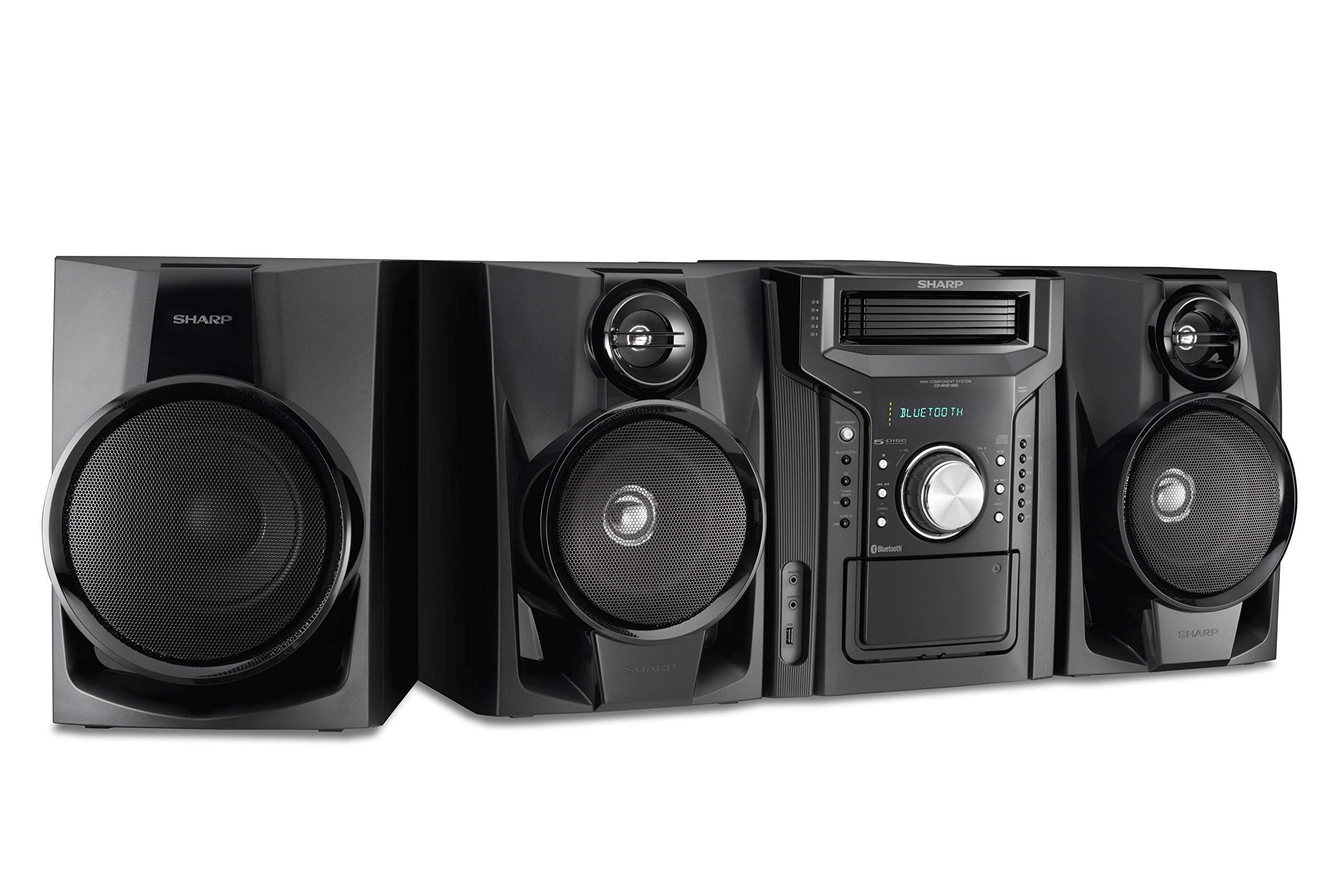 Sharp CD-BHS1050 350W 5-Disc Mini Shelf Speaker/Subwoofer System with Cassette and Bluetooth, AM/FM Digital Tuner, USB Port for MP3 Playback, 350W RMS Power Output and 875W Peak Power, Remote Included by Sharp