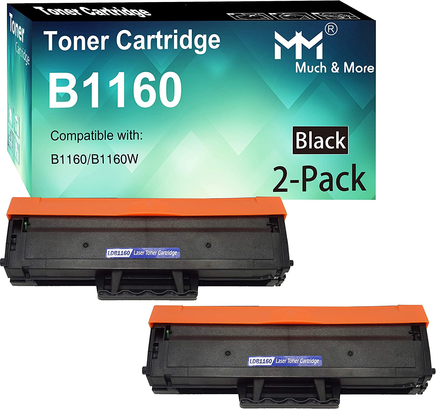 (2-Pack, Black) Compatible Dell YK1PM 1160 331-7335 HF44N HF442 Toner Cartridge Used with Dell B1160 B1160w B1163w B1165nfw Mono Laser Printer, Sold by MM MUCH & MORE