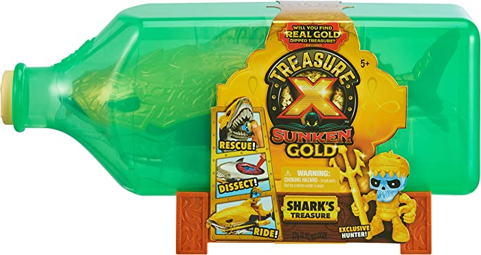 Treasure X Sunken Gold Shark's Treasure. 16 Levels of Adventure Including Shark Dissection, Saving The Treasure Hunter Action Figure from The Shark's Chomping Jaws, Discovering The Treasure Chest