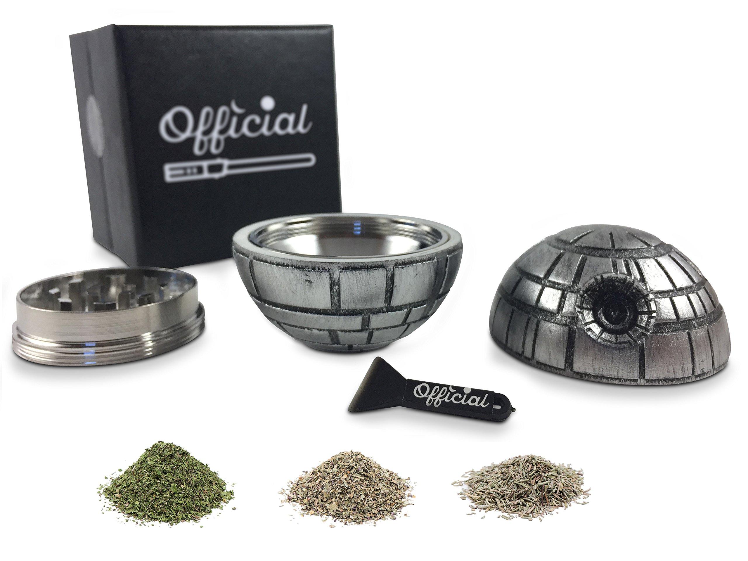 Official Death Star Herb Grinder - Star Wars Grinder With BONUS Pollen Scraper - Star Wars Gifts - Herb & Spice Tool With Pollen Catcher - 3 Part Grinder, 2.2 Inches