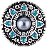 Morella® Damen SMALL Click-Button Druckknopf 12 mm Ø Blume Perle blau