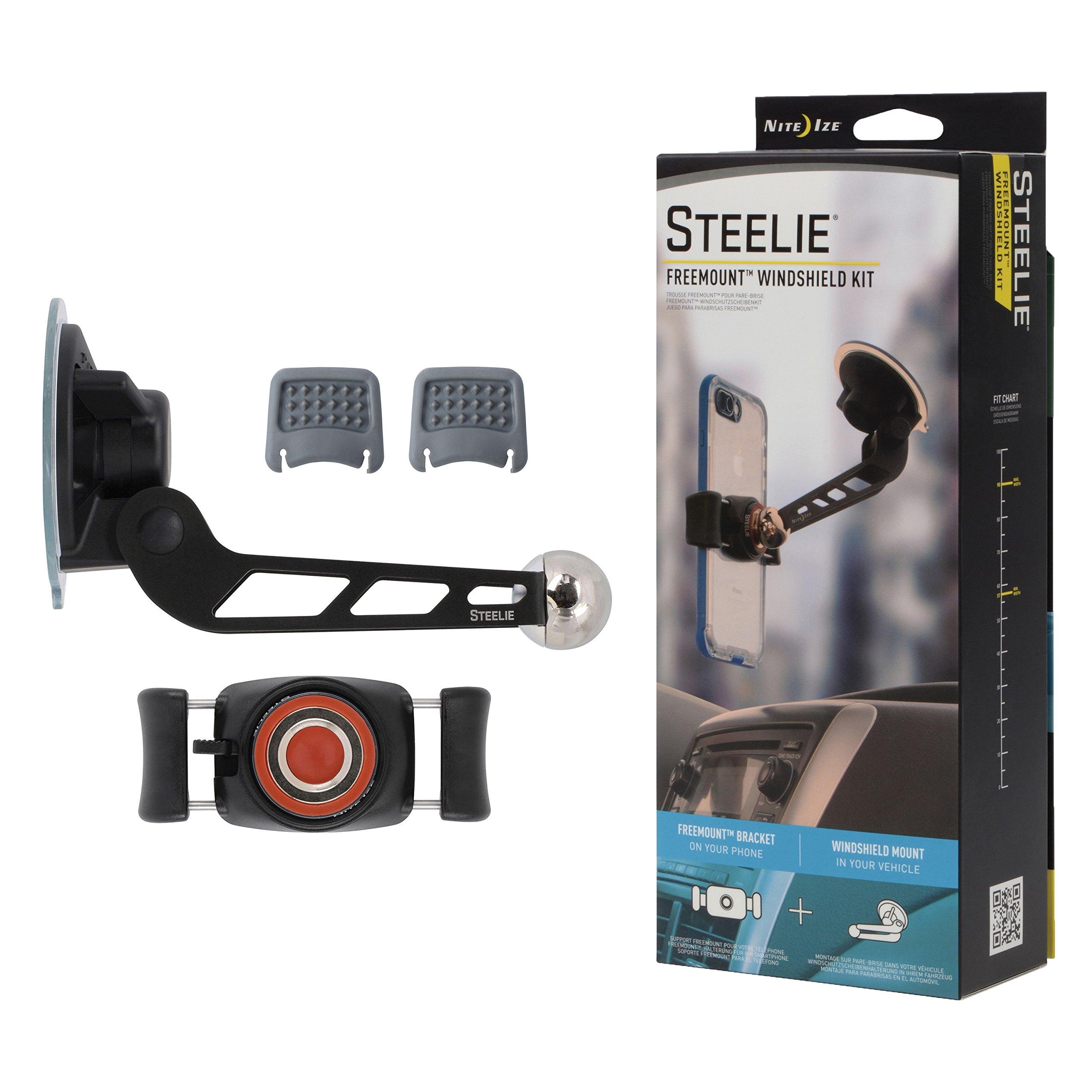 Nite Ize Original Steelie Freemount Windshield Kit - Adjustable Magnetic Bracket + Car Windshield Mount for Smartphones
