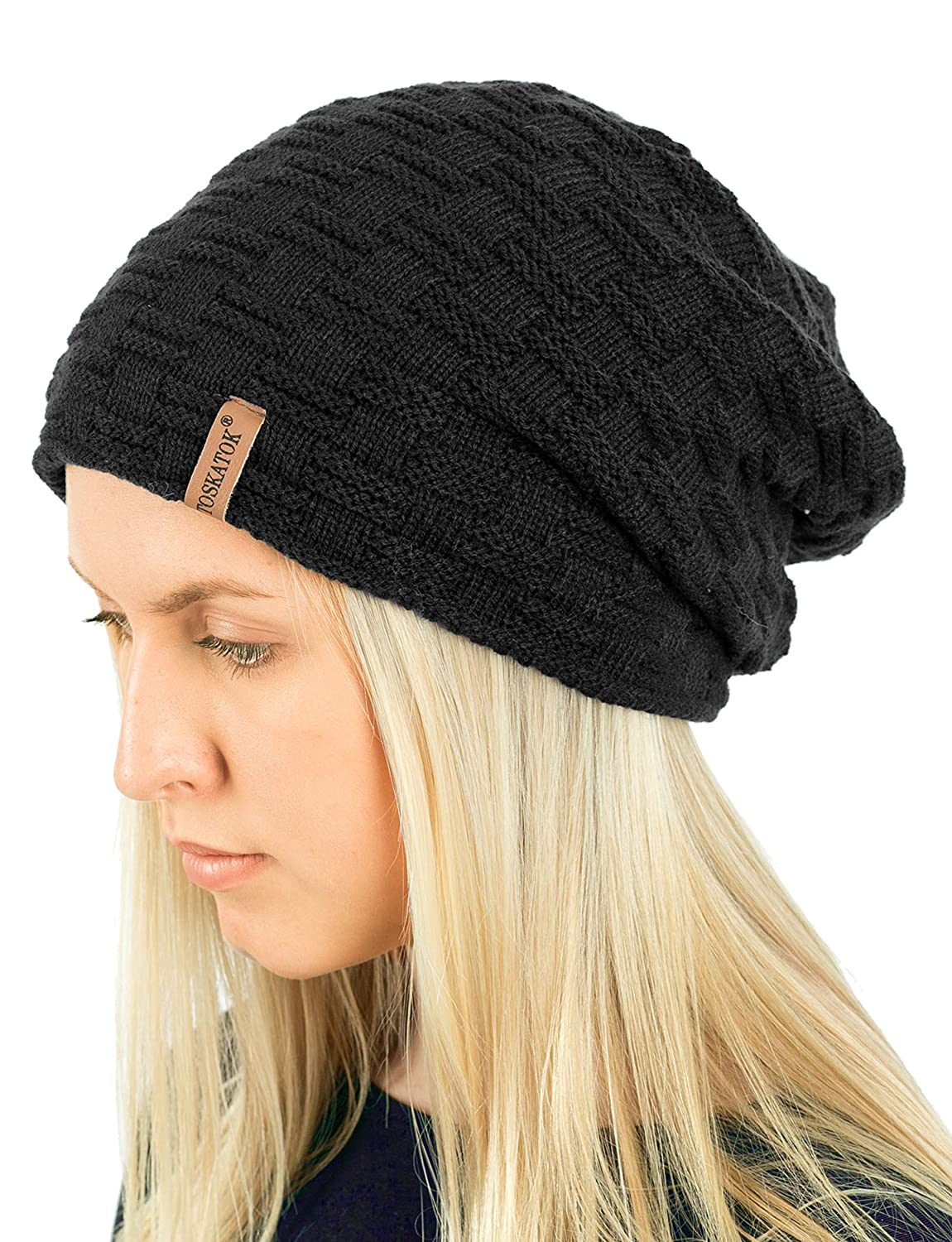 84e20829e5f TOSKATOK Ladies Mens Unisex Warm Winter Textured Knit Slouch Beanie Hat  with Cosy Faux Fur Teddy Fleece Liner-Black  Amazon.co.uk  Clothing