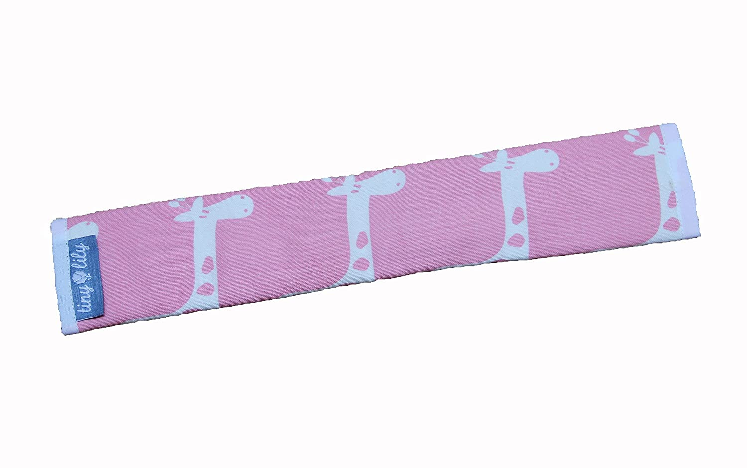 Tiny Lily Cotton Bumper Bar Cover for Uppababy Strollers, Pink Giraffes