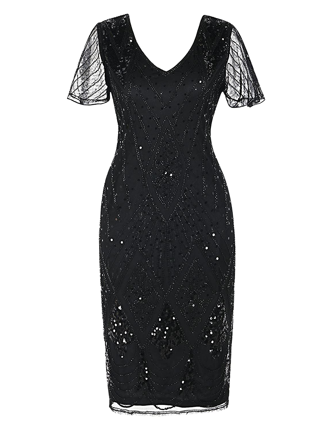 f53eda4c Beaded short sleeve,zipper closure,shift dress midi length Cocktail flapper  dress,1920s style