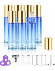 Glass Roller Bottles for Essential Oils, Gift Box Package per Bottle, Stainless Steel Roller, Opener, Adhesive Labels, Droppers n Funnels Included, Handy Picks (7 Pack, Gradient Blue)