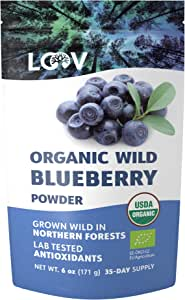 Organic Wild Blueberry Powder, Wild-Crafted from Nordic Forests, 100% Whole Fruit Bilberry, 35-day Supply, 6 oz, Freeze-Dried and Powdered Wild Blueberries, High in Anthocyanins, Free Recipe Book