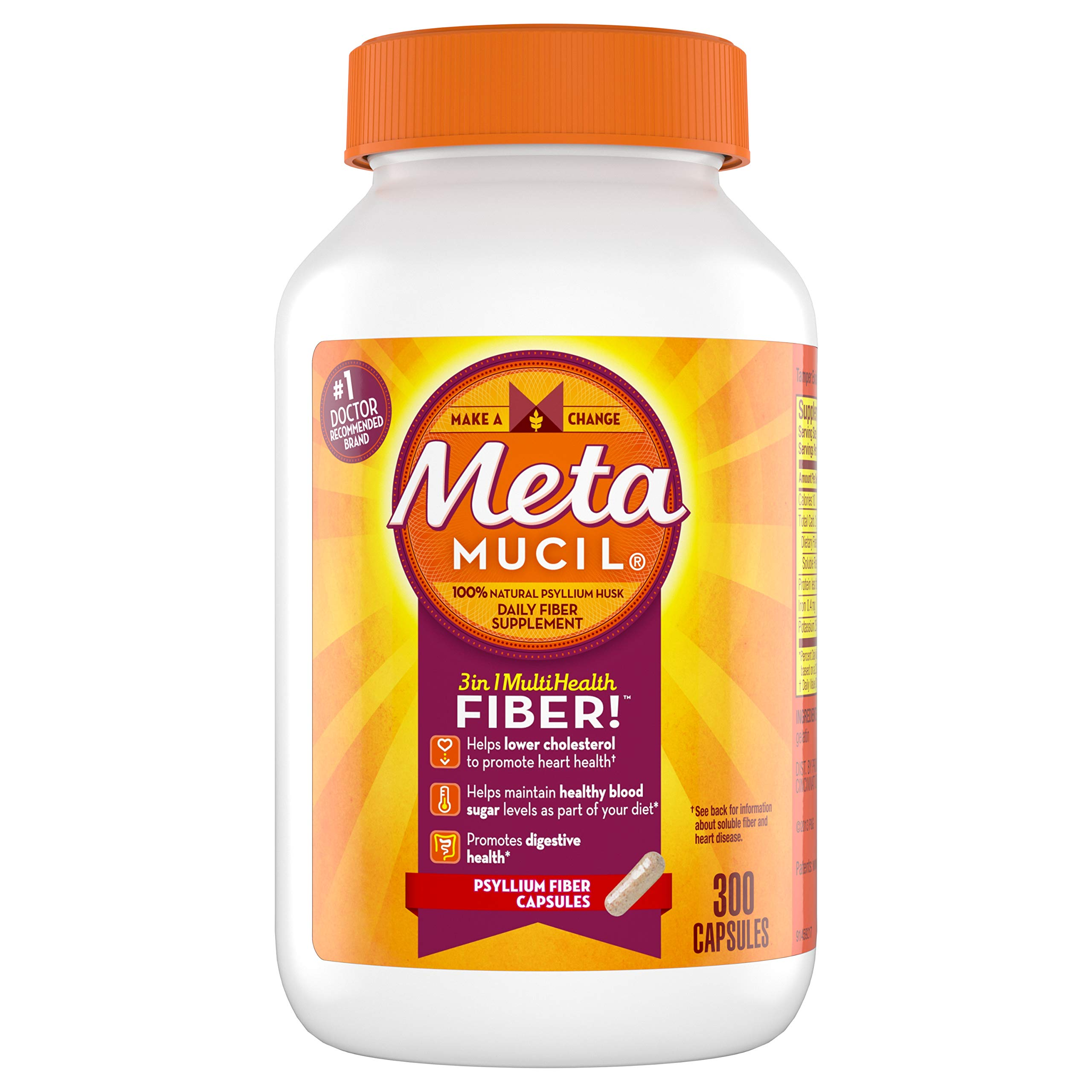 Amazon.com: Metamucil Multi-Health Psyllium Fiber Supplement Sugar-Free Powder, Orange Flavored ...