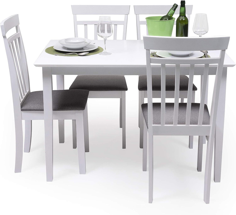 Conjunto de Comedor Kansas White Mesa de Comedor de Madera lacada en Blanco de 112x72 cm y 4 sillas de Comedor de Madera lacadas en Blanco y Asiento tapizado de Tela Gris: