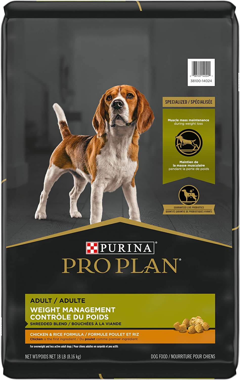 Purina Pro Plan With Probiotics, Weight Management Dry Dog Food, Shredded Blend Chicken & Rice Formula - 18 lb. Bag