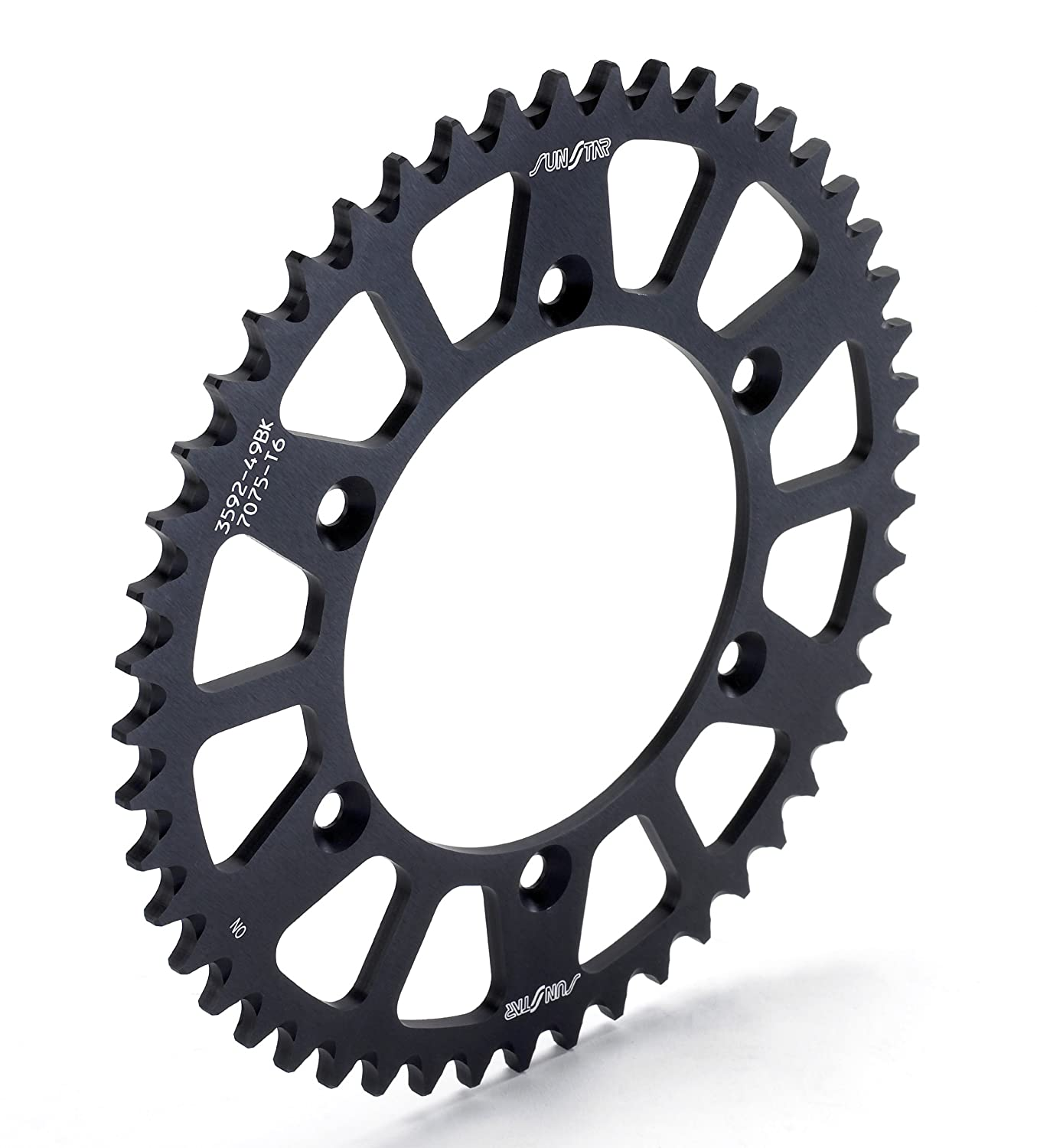Sunstar 5-361949BK Works Triplestar Black 49-Teeth 520 Chain Size Rear Aluminum Sprocket