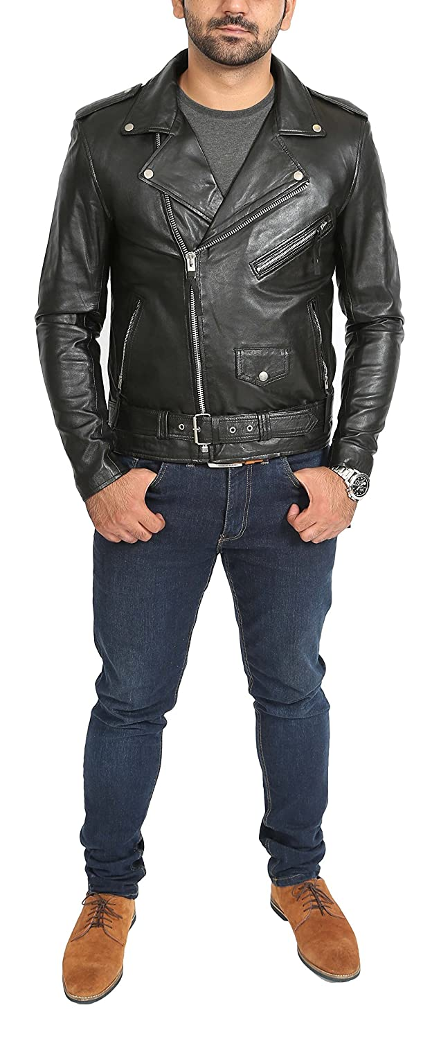 Mens Real Leather Biker Brando Jacket Popular Zip Up Style Johnny Black at Amazon Mens Clothing store:
