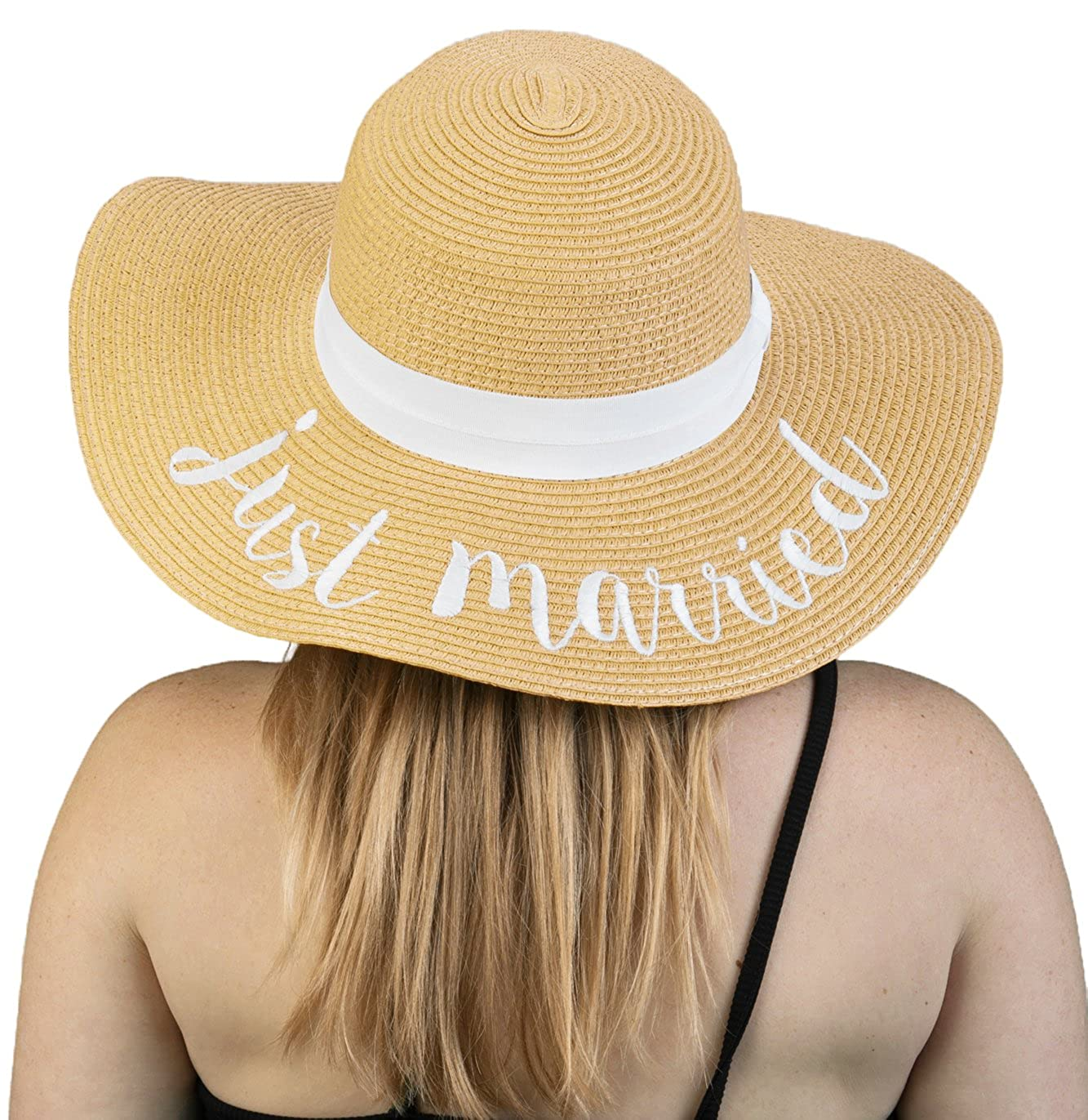 Funky Junque Women's Bold Cursive Embroidered Adjustable Beach Floppy Sun Hat Always On Vacay One Size H-2017-AOV-FJ