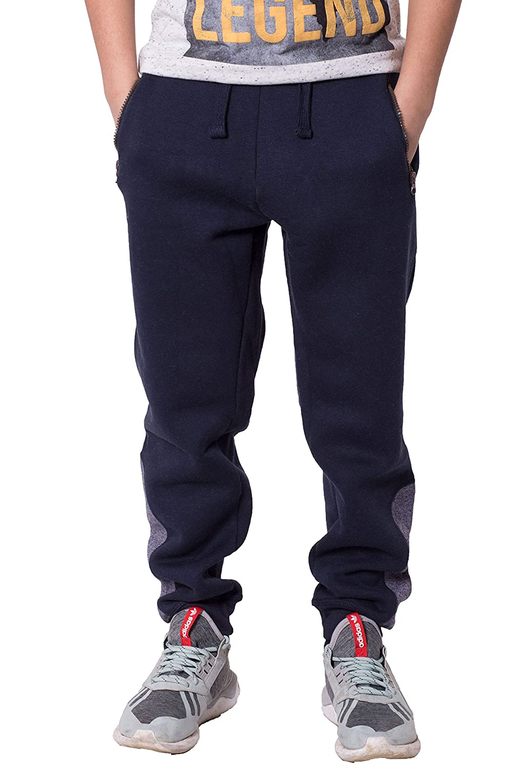 Noroze Boys Kids Ankle Contrast Panel Fleece Trousers Jogging Bottoms