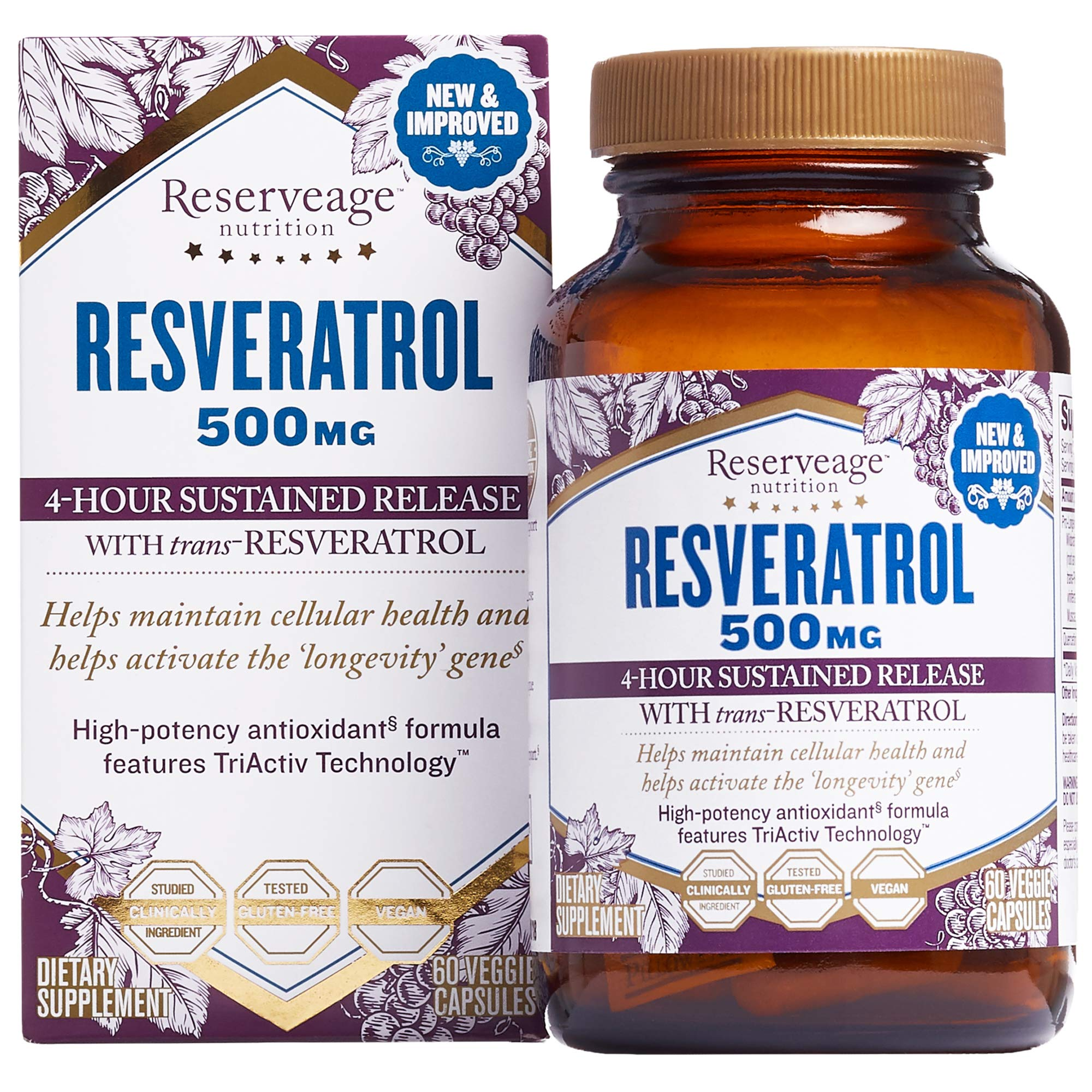 Reserveage, Resveratrol 500 mg, Antioxidant Supplement for Heart and Cellular Health, Supports Healthy Aging, Paleo, Keto, 60 capsules (60 servings) by Reserveage Nutrition