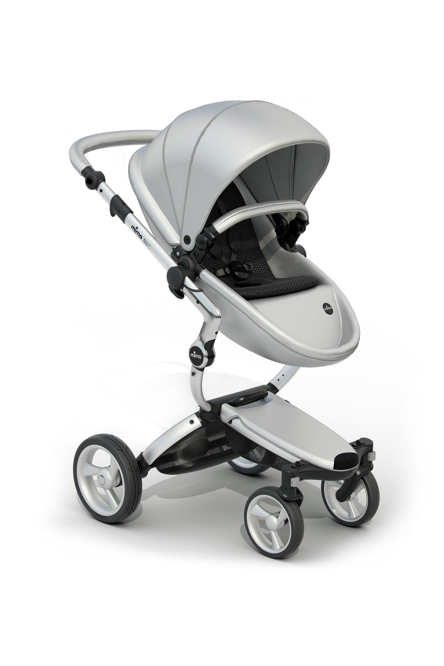 Mima Xari Stroller Authorized Seller ( Aluminum Chassis, Argento seat, Black Starter Pack by Mima (Image #1)