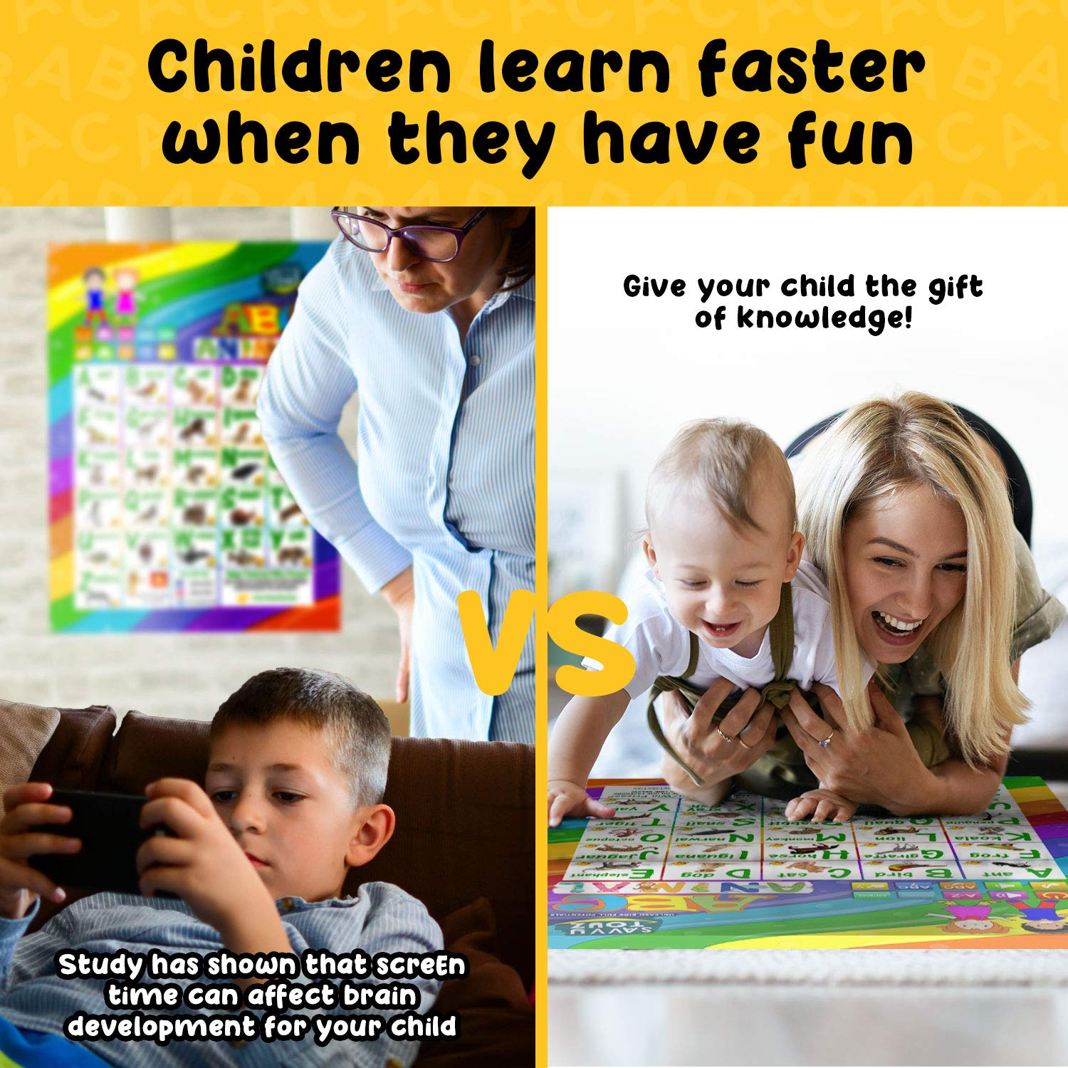 SavvyToyZ Educational Toys for 2-5 Year Olds - Help Your Toddler's Development and Education with Preschool Learning Toys - Fun Talking Interactive Poster for Entertainment and Learning Alphabet by SavvyToyZ (Image #8)