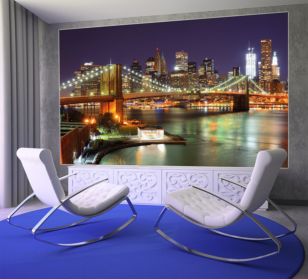Wallpaper New York Mural Decoration Brooklyn Bridge at Night Glowing Skyscraper Skyline Wall Street USA Decoration I paperhanging Wallpaper poster wall decor by GREAT ART 132.3 Inch x 93.7 Inch