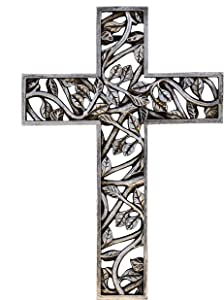 Old River Outdoors Tree of Life Wall Cross - Silver Branches and Leaves Decorative Spiritual Art Sculpture