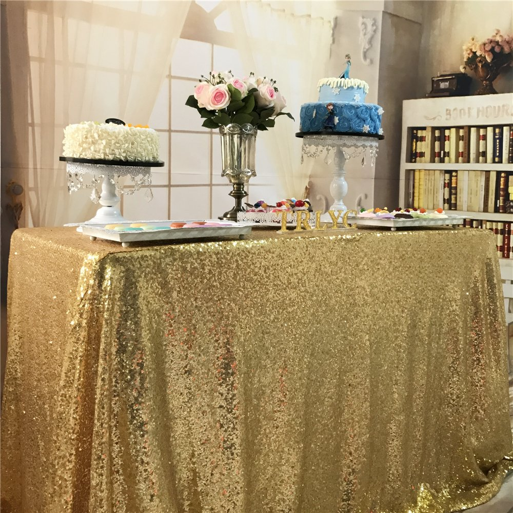 TRLYC Christmas 60 by 102-Inch Fathers'Day Gold Wedding Sequin Tablecloth Shipping from USA