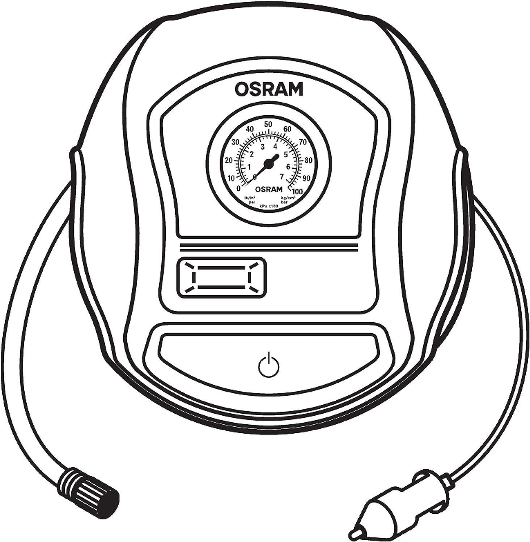 Analoge Reifenpumpe tragbarer 12V Kompressor f/ür Autoreifen OSRAM TYREinflate 200 Reifenbef/üllung in 4,5 Minuten Stromanschluss via Zigarettenanz/ünder
