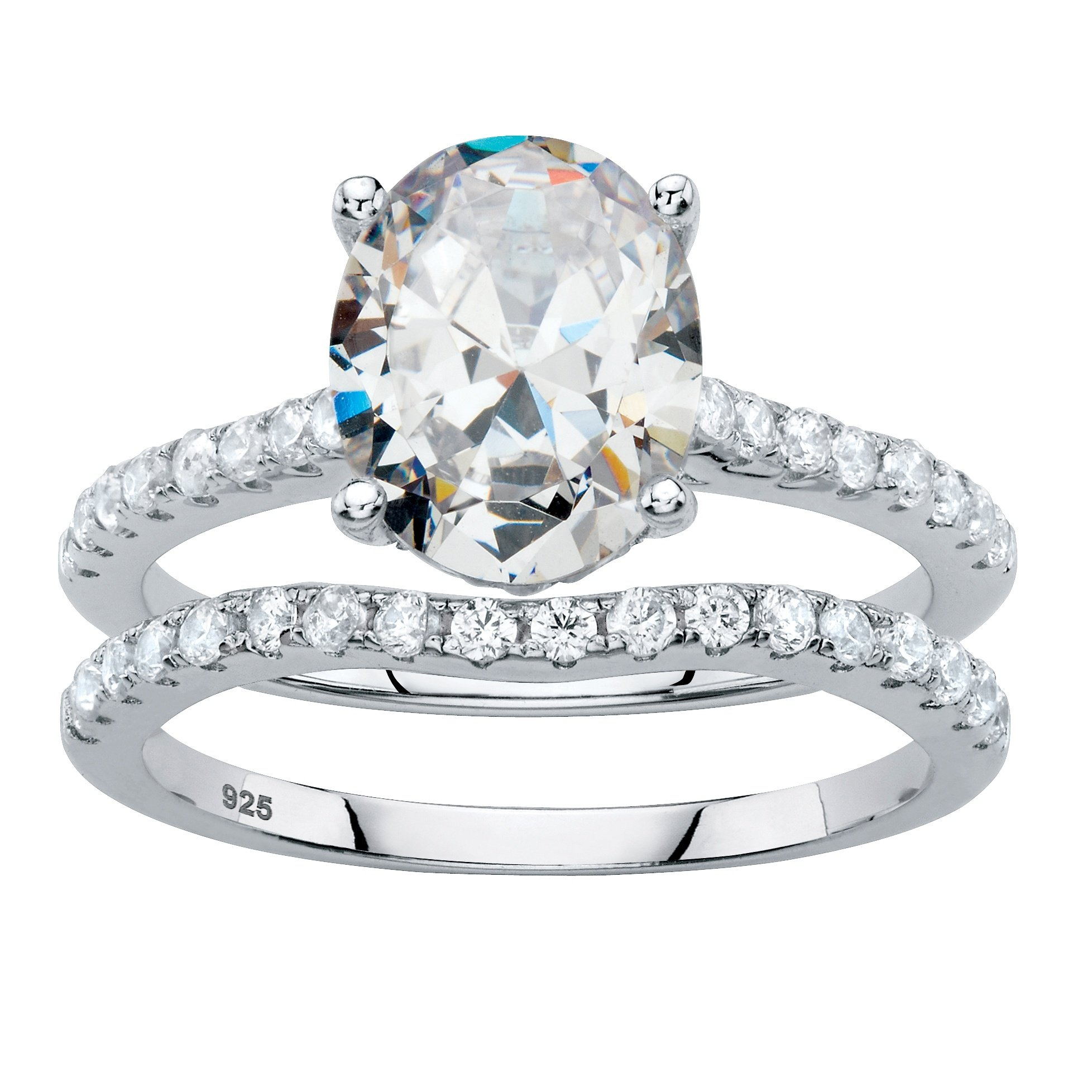 Platinum over Sterling Silver Oval Cut and Round Cubic Zirconia 2 Pair Bridal Ring Set Size 7 by Palm Beach Jewelry