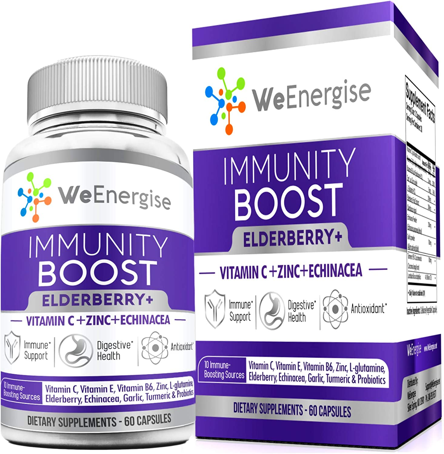 Immune Support Supplement - Black Elderberry Capsule/Pill with Zinc, Vitamin C, Echinacea & Vitamin E – 10 in 1 Booster Superfood Formula for Immunity Support & Respiratory Health - 60 Capsules