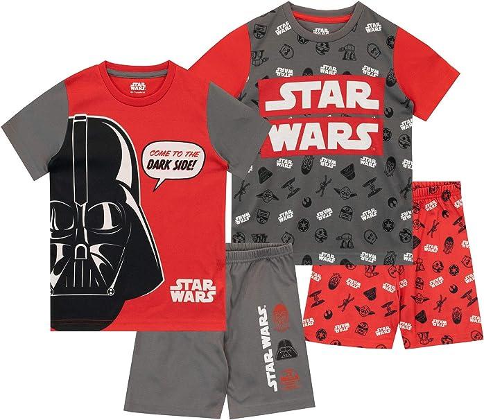 Star Wars Pijamas de Manga Corta para niños 2 Paquetes Guerra de Las Galaxias