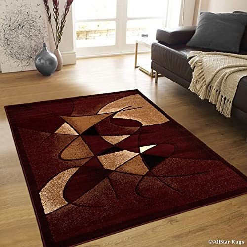 Allstar 8×10 Burgundy and Mocha Modern and Contemporary Machine Carved Rectangular Accent Rug with Espresso and Ivory Abstract Design 7 9 x 10 1