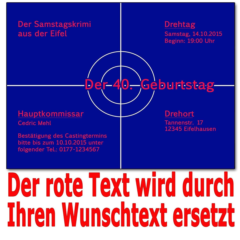 Einladungskarten Krimi Ideal Für Mottoparty Tatort Einladung Geburtstag (40  Stück): Amazon.de: Bürobedarf U0026 Schreibwaren