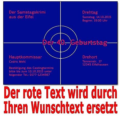 Einladungskarten Krimi Ideal Für Mottoparty Tatort Einladung Geburtstag (50  Stück): Amazon.de: Bürobedarf U0026 Schreibwaren