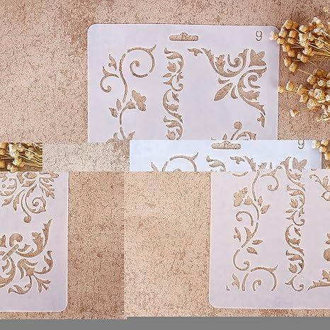 Zhuotop DIY Plantillas con diferentes patrones para pintar con aerógrafo, para manualidades y decoración,