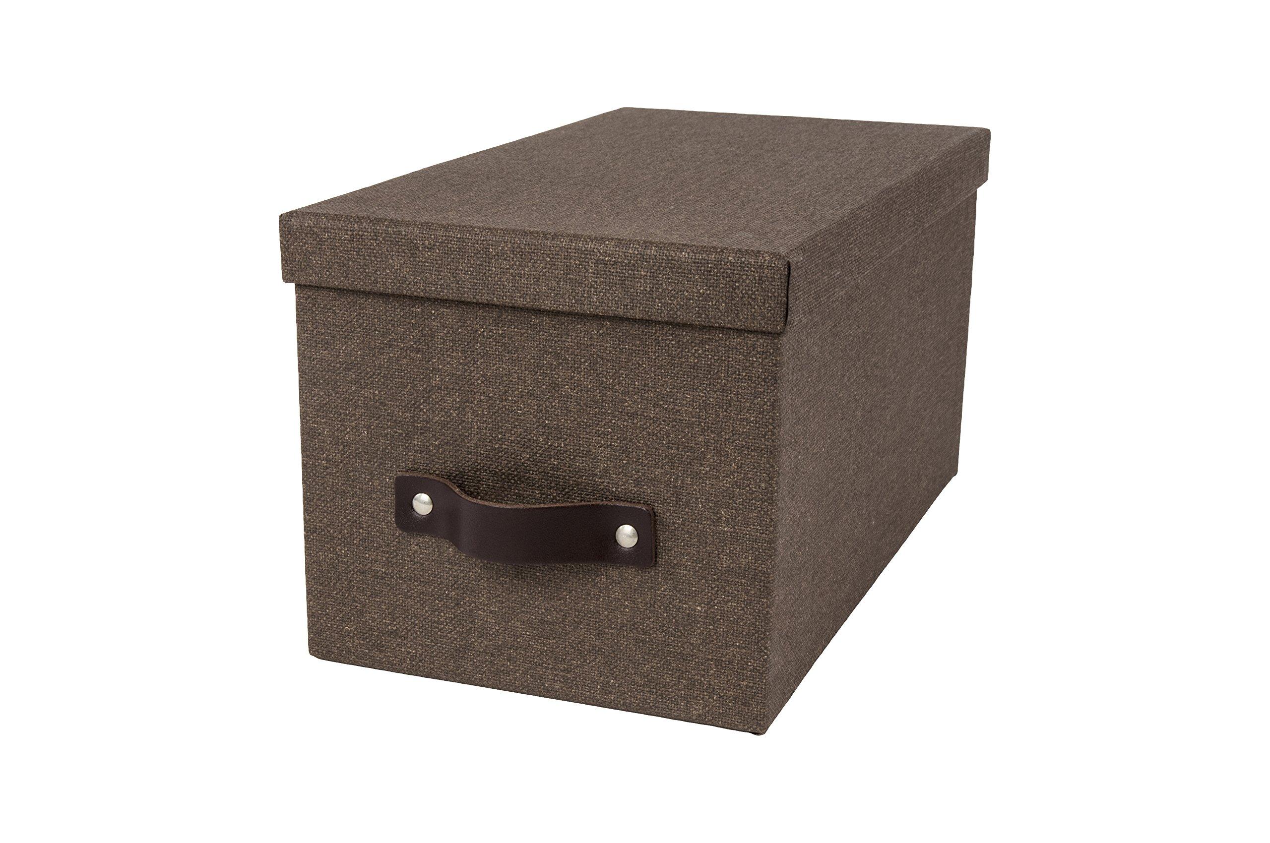 Bigso Silvia Canvas Paper Laminate Media Box, Dark Brown