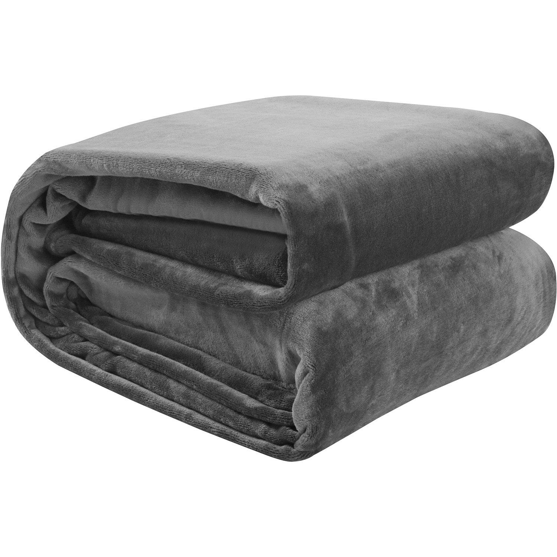 Flannel Fleece Blanket Grey (Queen) Lightweig...
