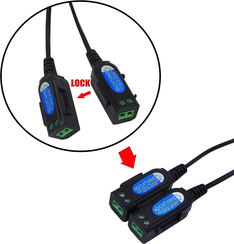 CA05 CERRXIAN HD Video Balun Connectors BNC Male to 2 Screw Terminal Balum Solderless Connector Passive HD CVI//AHD//TVI Signal Transceivers
