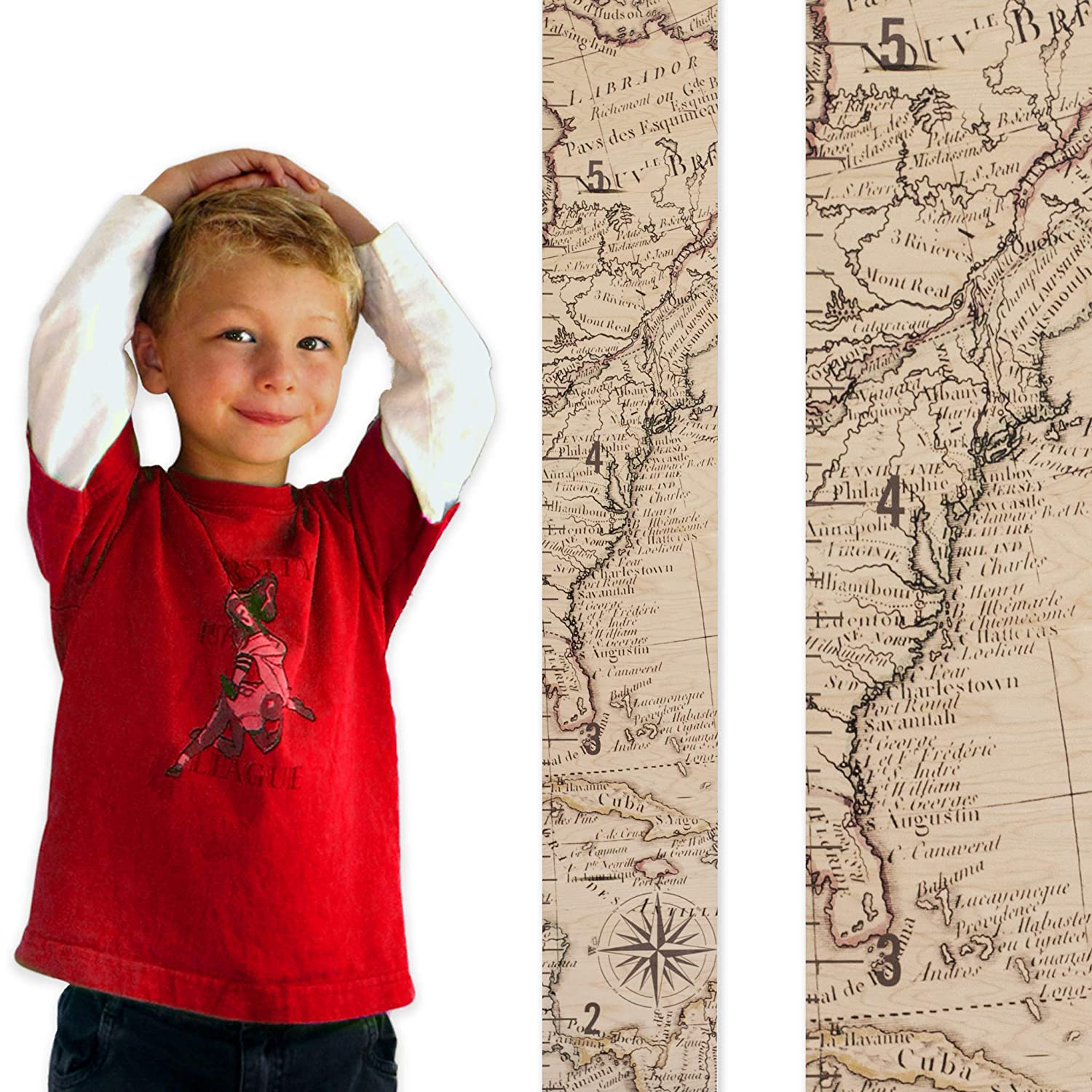 Growth Chart Art | Wooden Map Growth Chart for Kids [Boys & Girls] – Children's Room Décor Height Chart | East Coast Map Natural RULECN