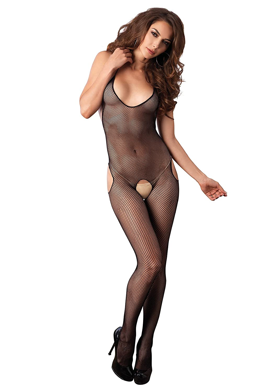 Leg Avenue Women's Seamless Fishnet Halter Suspender Bodystocking Black One Size 8903122001