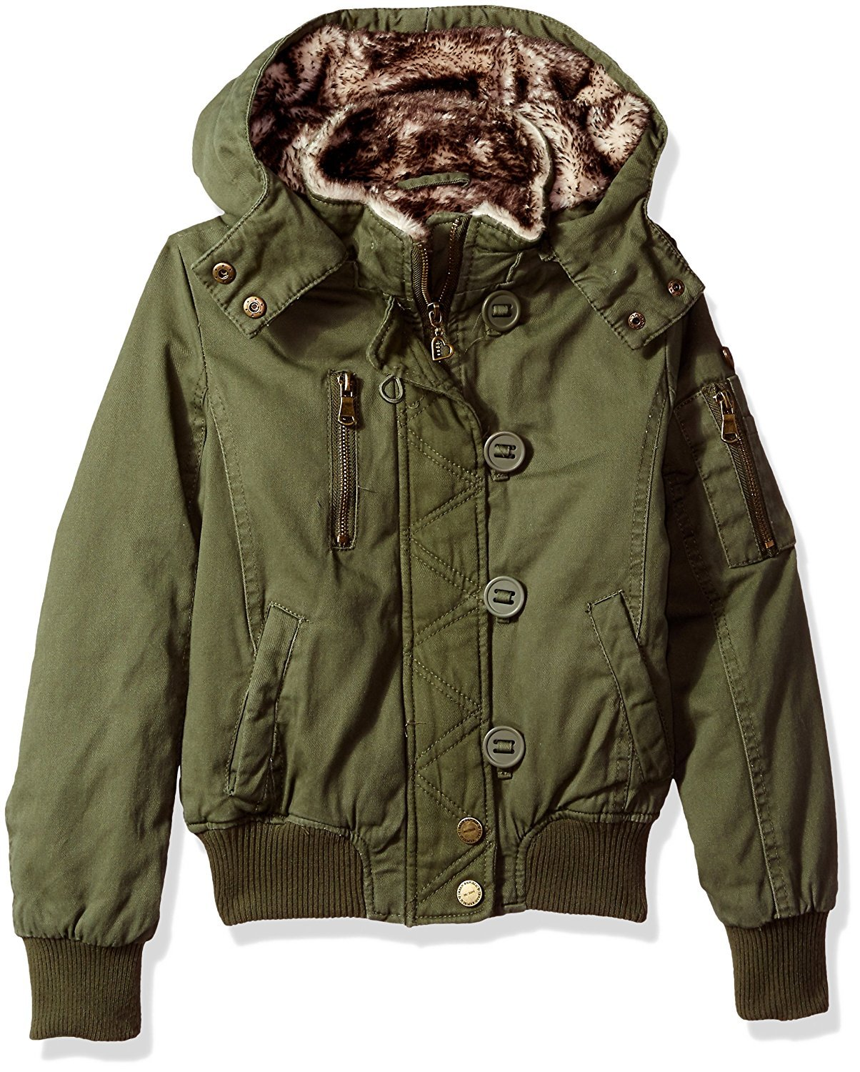 Urban Republic (5807) Girls Cotton Twill Lined Jacket with Hood in Olive Size: 16