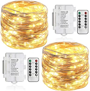 Koopower 2 Pack 36ft 100 LED Outdoor Battery String Lights, Silver Copper Lights for Bedroom, Garden, Easter, Christmas Decoration (8 Modes, Dimmable, IP65 Waterproof, Warm White, Remote and Timer)